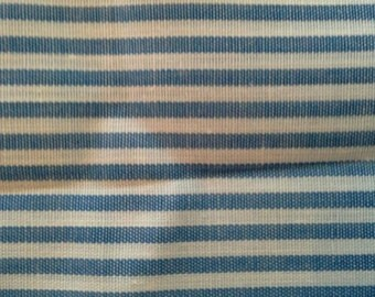 Blue and White Stripped Fabric 4 Yards Polyester Cotton Blend  X0601