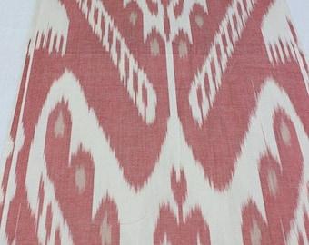 Uzbek handwoven cotton pink-coral ikat fabric 137cm