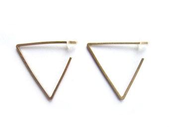 Triangle Threader Earrings - Minimalist Earrings - Triangle Hoop Earrings