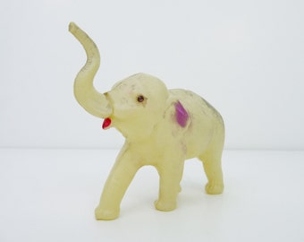 Antique Vintage Celluloid Plastic Circus Elephant w/ Gem Eyes Toy Figurine anl