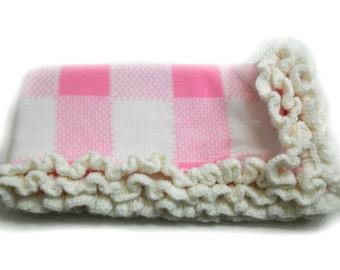 Baby Blanket, Pink Baby Blanket, Receiving Baby Blanket, Pink Checkered Fleece, White Ruffled Edge, Crochet Edging, Girls Baby Blanket,