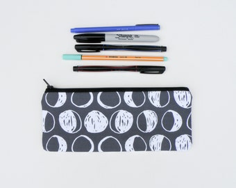 Phases of the Moon Pencil Case - Black and White Full Moon Zipper Pouch - Lunar Eclipse  Bag - Large Pencil Case
