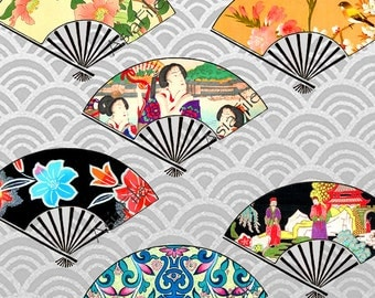 Digital Printable Japanese Fans Images, Digital Art,  Asian Art, Japanese Chinese Designs, Digital Collage Sheet  CS 157