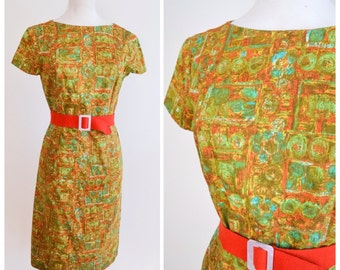 1960s Green orange mid century print cotton day dress / 60s fitted printed dress - S M