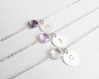 Birthstone & Initial Bracelet | Personalized Bracelet | Birthstone Bracelets | Bridesmaids Bracelets.