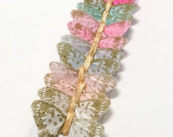 Feather Butterflies -12 Vintage Inspired Butterfly Embellishments in Soft Pastels - 2 Inch Size - Artificial Butterflies