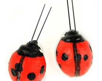 Craft Decor - 2 Red Foam Ladybugs ON WIRES, 1 inch - Scrapbooking, Craft Supplies