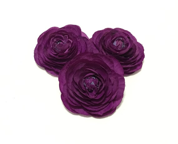 3 Small Purple Ranunculus Flowers - Artificial Flowers, Silk Flowers, Flower Crown, Millinery, Wedding, Hair Accessories, Tutu, DIY Wedding