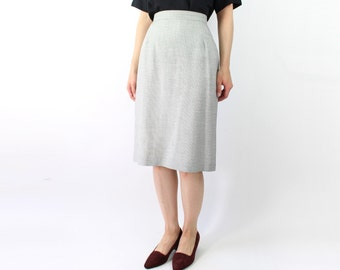 VINTAGE 1980s Pencil Skirt Black White Check
