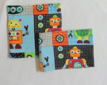 School Lunch Bags Set of 2 Reusable Bags Robot Sacs for Sandwiches, Snacks and Even Toys