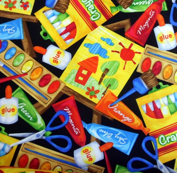 Art class fabric novelty fabric kids art supplies art class for Kids novelty fabric