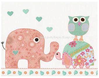Baby girl, Nursery wall art print, Baby room decor, owl, turtle, baby elephant, Hayley, coral, aqua,baby, turquoise, peach, baby teal