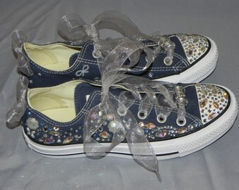 Navy Blue and Silver Converse Shoes - Bridal Converse - Decorated Sneakers