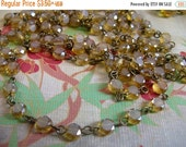 sale Vintage Style Handmade Linked Rosary Chain with Faceted Caramel champagne frosted crystals beads