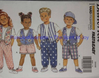 Size 5 6 6x Kids Girls Boys Butterick 6605 Vest Top Shirt Shorts Pants Causual Play Fashion Kids Children Uncut Sew Sewing Patter Pattern