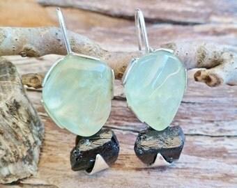 Prehnite Earrings. Prehnite And Black Tourmaline Earrings. Dangle Earrings. Sterling Silver Earrings. Mineral Earrings. Gemstone Earrings.