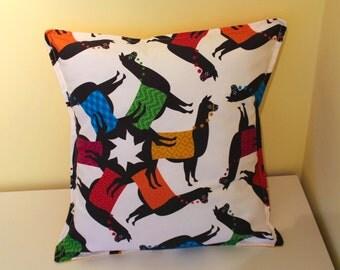 Peruvian Rainbow llama cushion cover