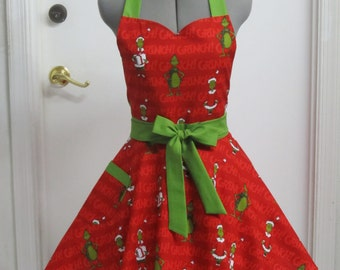 Christmas Grinch on Red Apron