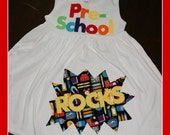 School ROCKS - Back to School Dress her Grade Level -Rainbow Colors - Toddler Youth Girl - You Choose Dress Color