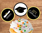 Instant Download Graduation Party Cupcake Toppers or Craft Circles