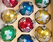 set of 10 vintage Holly glass globe red bllue gold green Christmas ornaments.