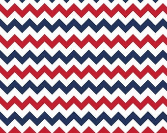 Summer Clearance Riley Blake Fabric - 1 Yard of Small Chevron Holiday Colors in Patriotic