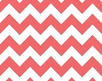 Summer Clearance Riley Blake Fabric - 1 Yard of Medium Chevron in Rouge