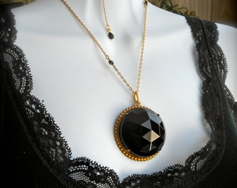 Vintage Necklace, Large Faceted Black Glass Pendant, Fire polished Crystal, Patina'd Brass Vintage Setting, One of a kind statement piece.