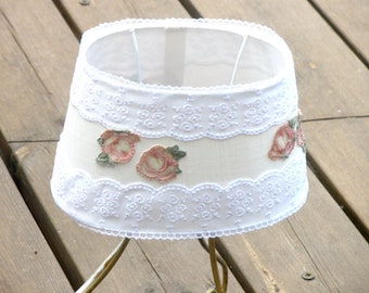 Shabby chic lampshade, Table decor, Living room light, Holiday Gift idea , Fabric cottage bedroom light , chic lamp, French country lamp.