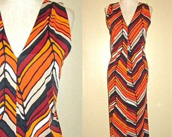 Vintage 70's orange CHEVRON STRIPED sleeveless dress - S