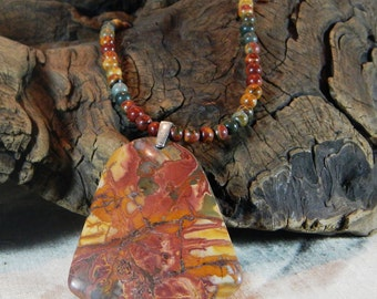 """Colorful Picasso jasper necklace 20"""" long lobster clasp large multicolor bell pendant semiprecious stone jewelry in a gift bag 11920"""