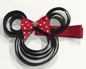 Magical Mouse Head Hair Clip with Red Swiss Dot Bow - Inspired by Minnie Mouse - Partially Lined Alligator Clip