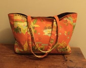 Large Burnt Orange Cotton Canvas Tote with Caribbean Print