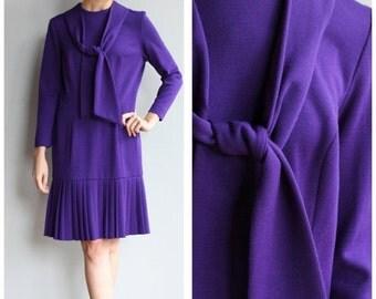 Sale 1960s Dress // Parisian Purple Wool Dress // vintage 60s dress