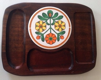 1960s Cheese Tray/ Cheese Board /Floral/ Wood Cheese Tray/ Himark Japan / Vintage Kitchen