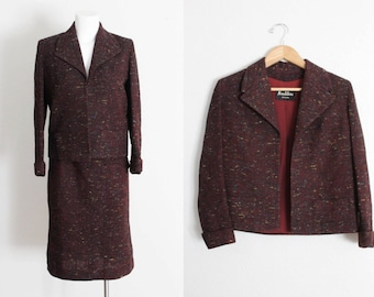 Vintage 1960s Neusteters Denver Wool Tweed Suit / Vintage 1960s Wool Tweed Suit / Burgundy Tweed Suit / Vintage Suit / Size Small