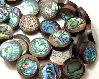 Tiger Ebony Wood Bead with Abalone Shell Inlay, 22mm, Coin, Flat, Natural Wood Focal Bead, Smooth, 22mm, 10pcs - ID 2131