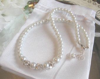 Pearl and Rhinestone Bridal Necklace/Wedding Necklace/Bridesmaid Necklace/Brides Necklace