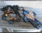Long Chain Necklace Chunky Cross  Pendant Boho Necklace Layering Necklace Earthy Colors