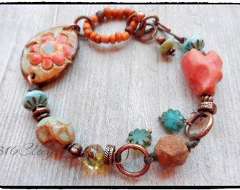 Artisan Style Boho Bracelet Fun bracelet for Stacking Layering Cheerful fun Unique Orange Blue Rustic Green