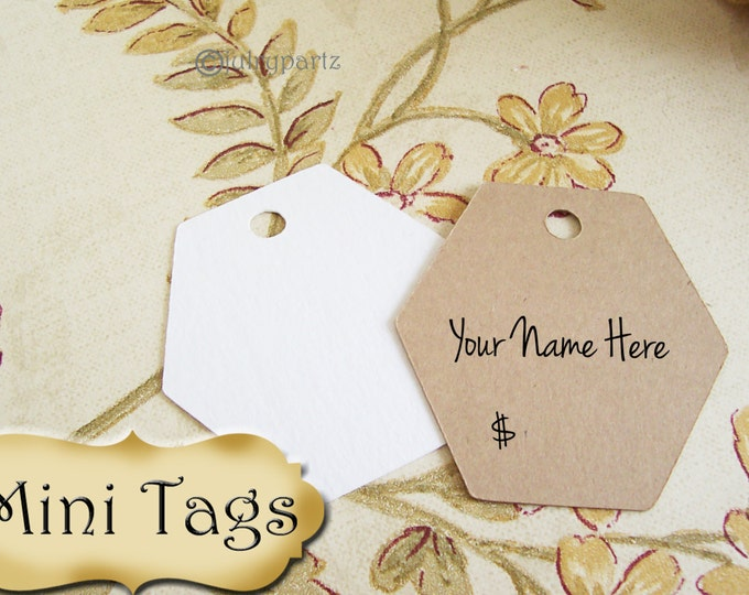 30 MINI TAGS #16 • 1.5 X 1.5 inch•Necklace Tags•Bracelet Tags•Price Tags•Clothing Tags•Favor Tags•octogon