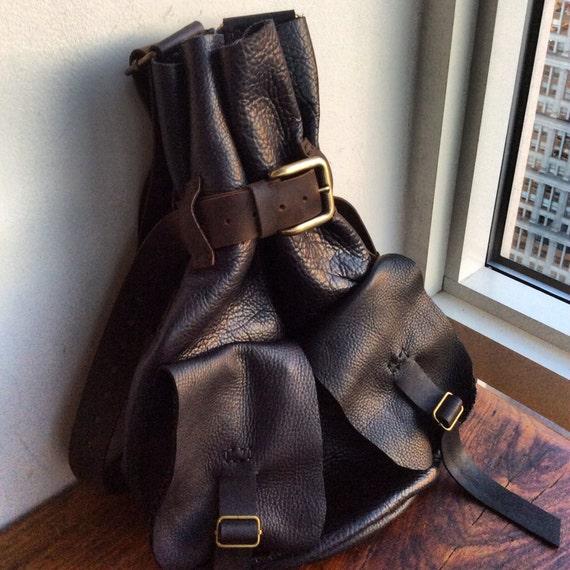 Boho Black Backpack, Soft Lightweight Black Leather Bag, Handmade Womens Backpack Purse, Convertible Backpacks Handmade in NY