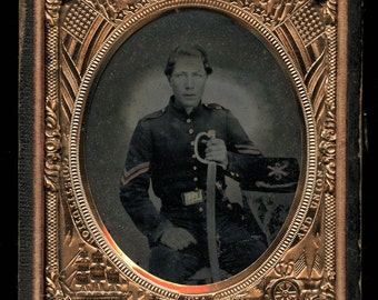 1/6 Ambrotype Civil War Soldier Xaver Baltz 2nd Missouri + Photo of Wife