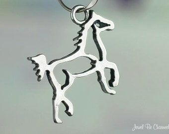 Sterling Silver Prancing Trotting Horse Outline Charm Silhouette .925