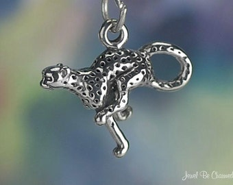 Sterling Silver Cheetah Charm Fast Running Animal Safari 3D Solid .925