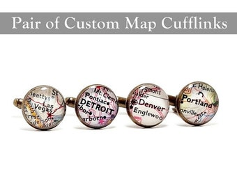 SALE Anniversary Vintage Map Cufflinks. One Pair. You Select two Locations. Anywhere In The World. Gifts. Wedding. Groom. Personalized. Fian