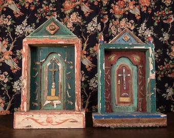 Nicho Architectural  Mexican Nicho // Milagros Charms // Catholic Tabernacle Shrine Frame Niche Art Ex Voto Latin Spiritual