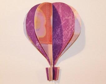 3d Hot Air Balloon -    purple, orange brown tan flowers
