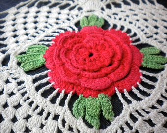 Doily, red rose, green leaves, off-white ivory, handmade vintage gift idea to use antique doilies wrap small gifts, kitchen, bed, bath decor