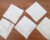 Vintage White Lace Handkerchiefs - White Hankies - Wedding Hanky - Set of Five White Hankies